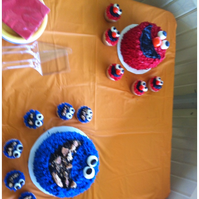 Elmo and Cookie Monster 1st Birthday Cake