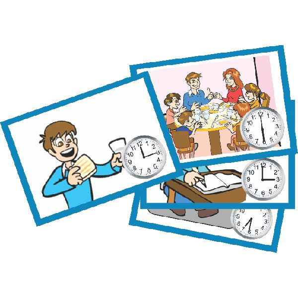 Teaching time and time-sequence can be fun with our time sequencing flash cards.