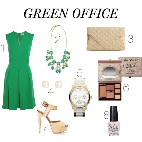 GREEN OFFICE by modaclosett on Polyvore featuring moda, Issa, Forever 21, Urban Expressions, Finesse and Too Faced Cosmetics