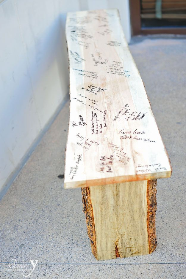 Guest sign in wooden bench - this is a neat idea for someone who's getting married or has a special anniversary