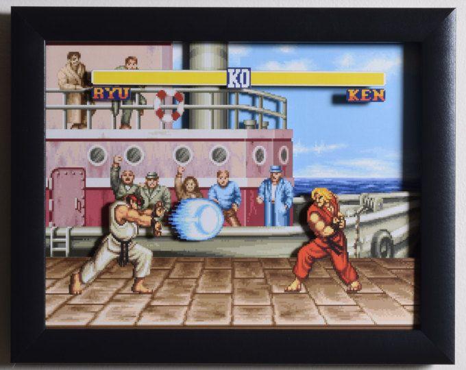 """Street Fighter 2 (SNES) - """"El muelle"""" caja de sombra de videojuegos 3D con marco de cristal"""