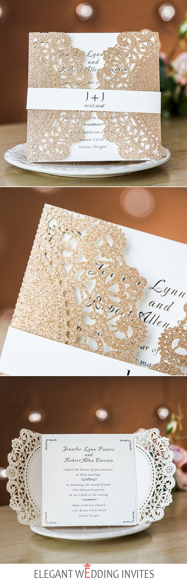 rose gold lace laser cut wedding invitations