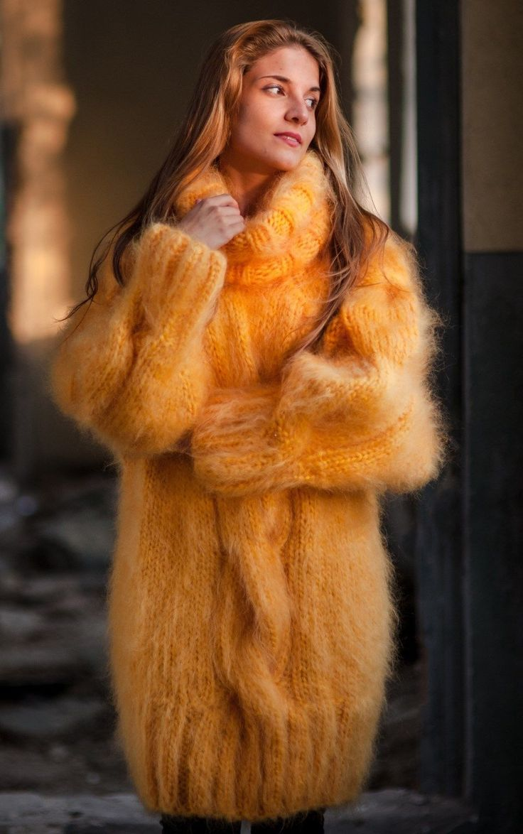 Hand Knitted Mohair Sweater Turtleneck Yellow Unisex Handmade Raglan One Size | eBay