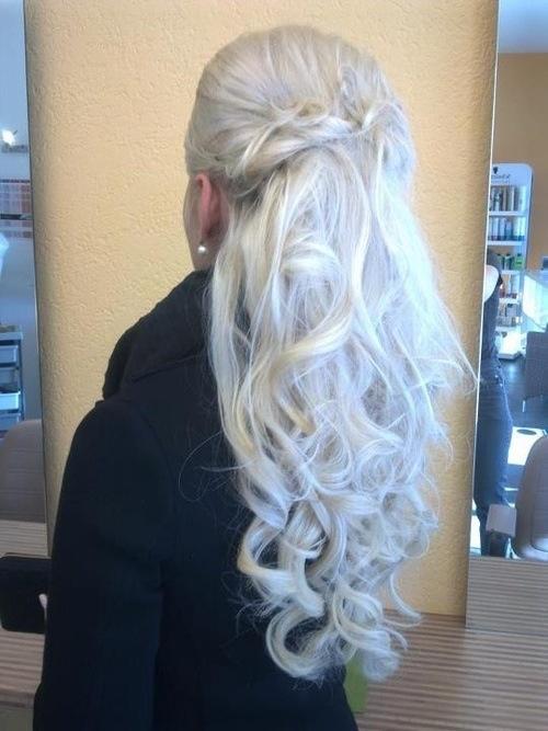 Platinum Blonde Half Up Do Curly Hair Long Gorgeous