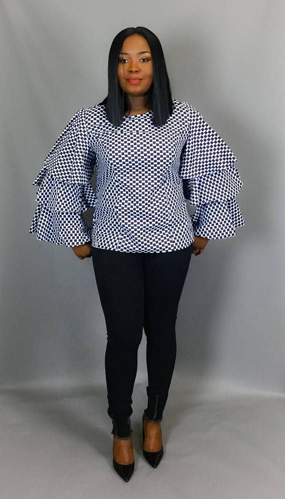 African clothingAfrican print three tiered ruffle sleeve top