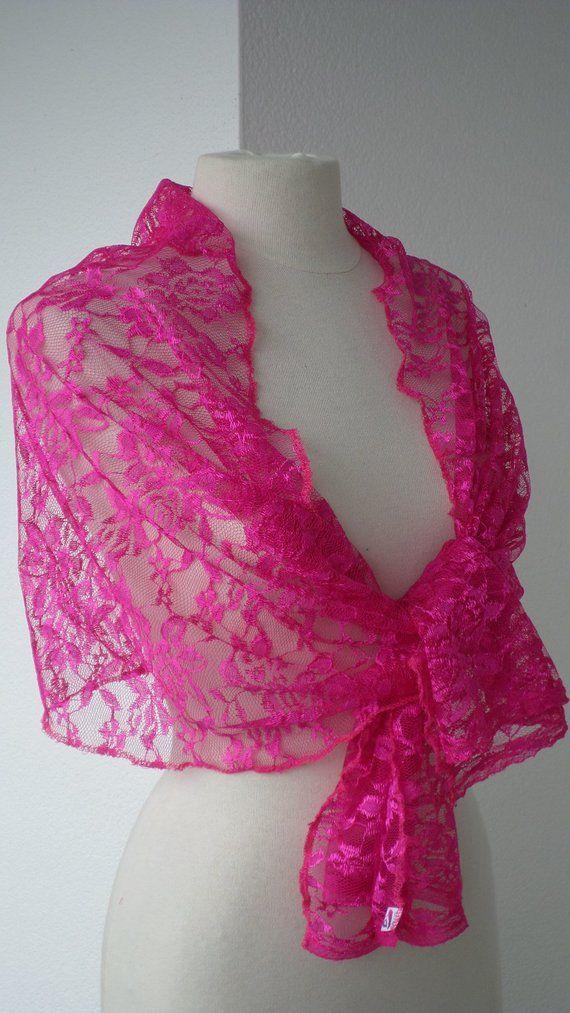 a6f8e4e0ab1 Etole écharpe foulard châle en dentelle  pour femme de coloris rose  fuchsia  agréable pour un mariage ou une soirée collection été  lin eva