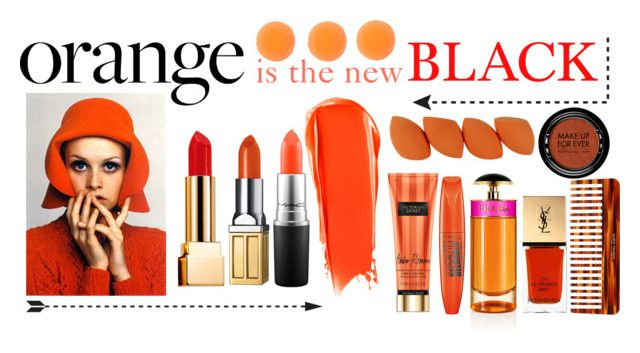 """Orange is the new Black"" by emiliamariaa on Polyvore featuring beauty, Elizabeth Arden, NARS Cosmetics, MAC Cosmetics, Yves Saint Laurent, Rimmel, Zelens, Prada, Mason Pearson and MAKE UP FOR EVER"