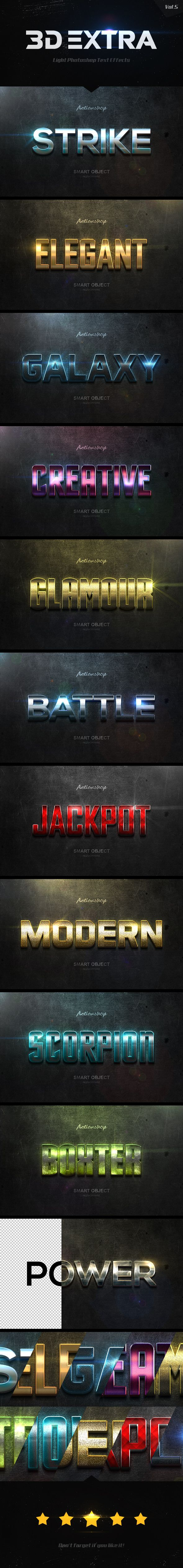 New 3D Extra Light Text Effects for Photoshop