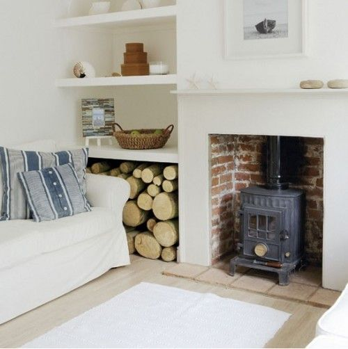 log burner and idea for internal wood store to side of chimney breast