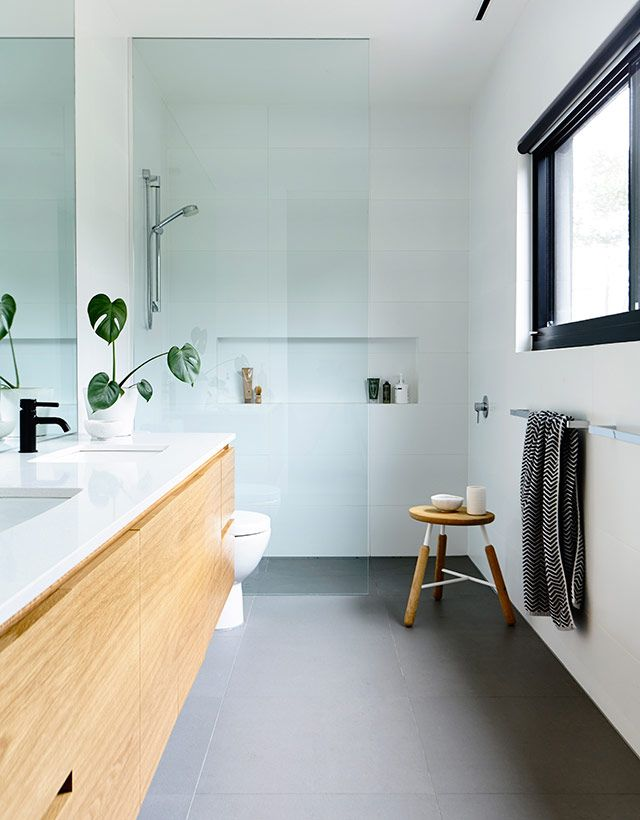 Beautiful Galley Bathroom With A Seamless Shower And A Plant To Soften Things Up Love The Stool
