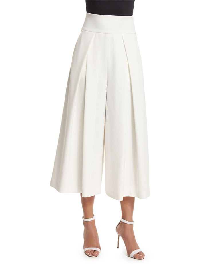 Pleated-Front Italian Culottes, White - Milly