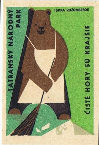 Sweeping Bear, vintage matchbook cover.