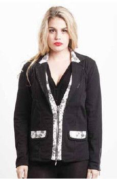 Black with Lace Pocket & Zip Detail Jacket - Winter 2015 Collection - HOLMES & FALLON