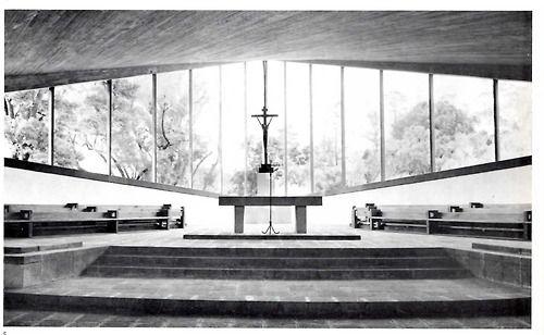 Chapel of the Missionaries of the Holy Ghost, Coyoacán, DF, 1956. Interior    Architect: Enrique de la Mora, Builder. Felix Candela