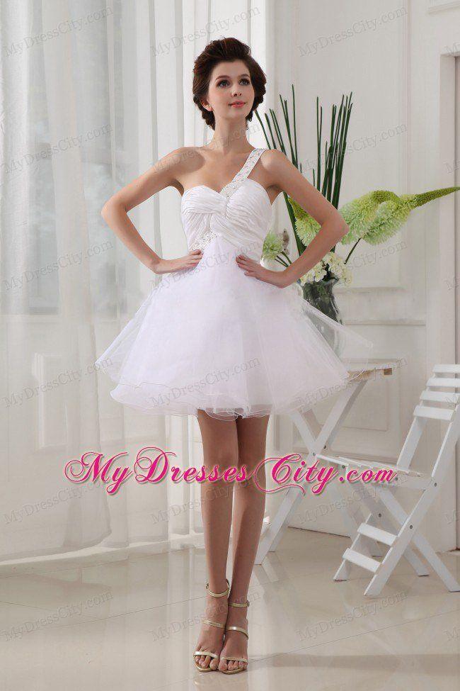 Organza korálků One Shoulder Ruching Pro bílé Krátké šaty na ples