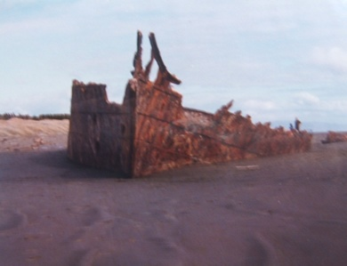 When I was about 9 or so, I lived in a small town called Foxton in New Zealand. A weekend visit to Waitarere Beach was commonplace and my younger brothers and I would run amok on the old wreck of the Hydrabad which run aground in 1878.