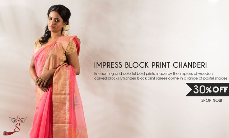 #ChanderiBlockPrintSarees are here, that too at 30% less!