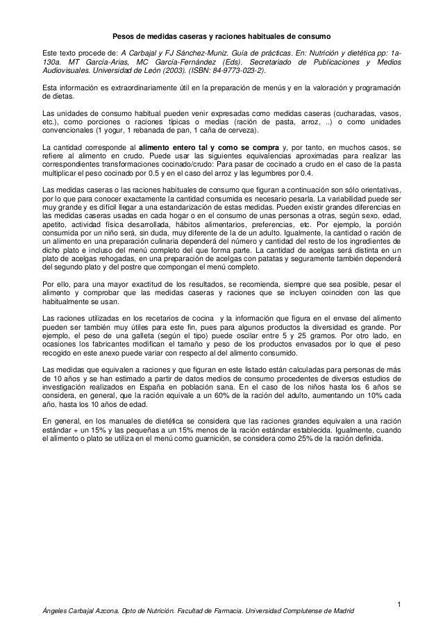 Ángeles Carbajal Azcona. Dpto de Nutrición. Facultad de Farmacia. Universidad Complutense de Madrid 1 Pesos de medidas cas...
