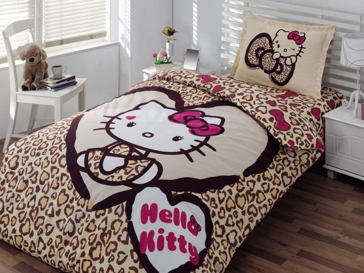 pure white bedroom with brown hello kitty bed decor plus laminate floor design: cute hello kitty bedroom design ideas with colorful wallpaper