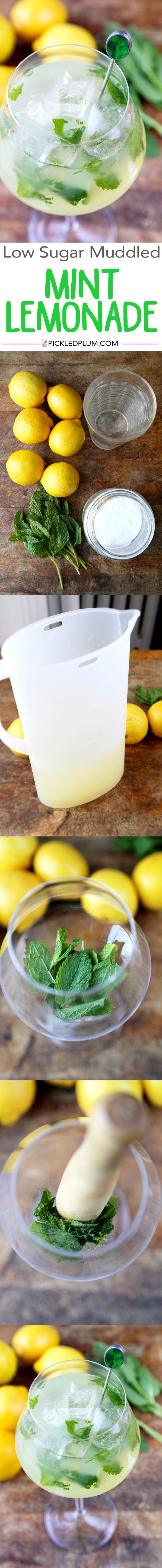 Drinks: Low Sugar Muddled Mint Lemonade Recipe - Easy, Vegan, Gluten-Free and Tart! #healthy