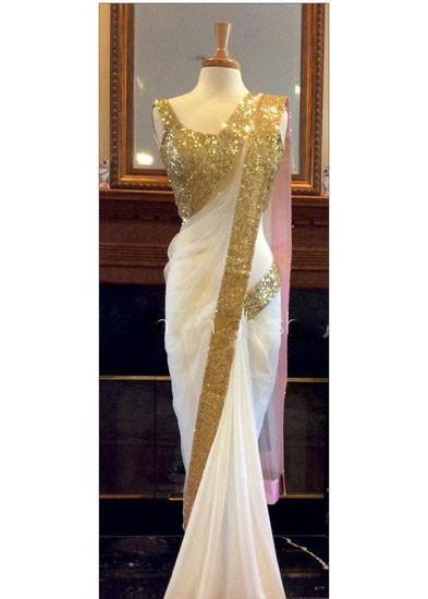 LadyIndia.com #Designer Sarees, Magnificient Designer Party Wear White Saree For Women, Designer Sarees, Party Wear Saris, https://ladyindia.com/collections/ethnic-wear/products/magnificient-designer-party-wear-white-saree-for-women