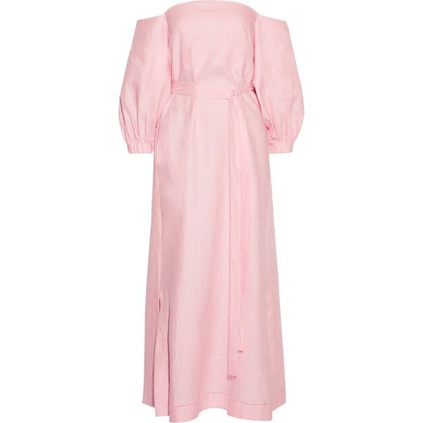 Lisa Marie Fernandez Rosie off-the-shoulder linen maxi dress ($855) ❤ liked on Polyvore featuring dresses, linen dresses, maxi dresses, sleeved maxi dress, off the shoulder sleeve dress and pink dress