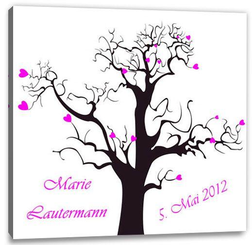 Geburtstagsspiele-Partyspiele+-+Taufe+-+Fingerabdruck-Leinwand+Lebensbaum+Herzchen+pink+-+individuell