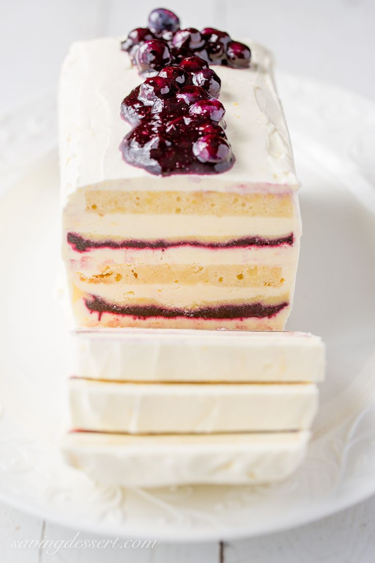 Blueberry-Lemon Icebox Cake - layered with pound cake, lemon mascarpone cream, and an amazing fresh blueberry sauce!