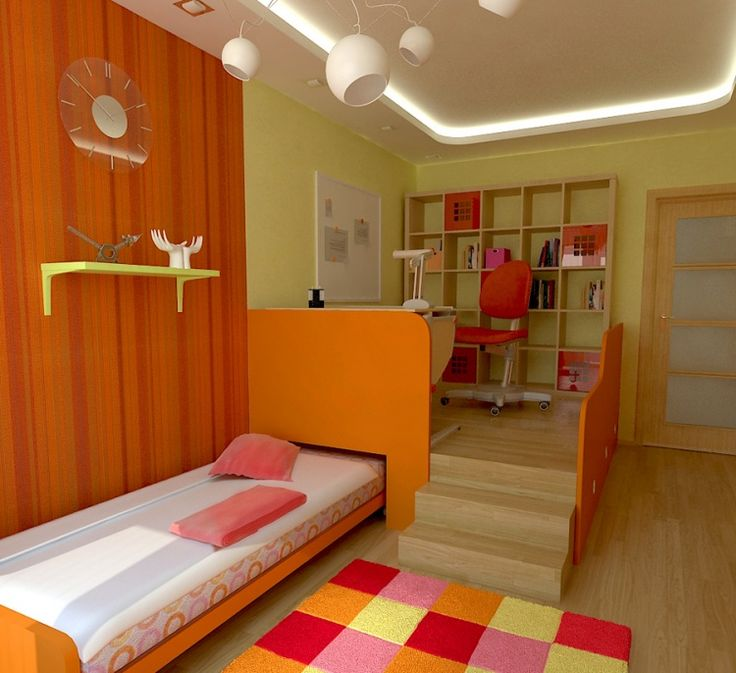 interior teens room wooden glass door bookcase red chair table lamp white board transparant clock ceiling lights staircase orange partition carpet motif - Glass Sheet Teen Room Decor