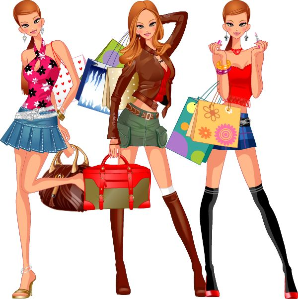 mujer muy mona de compras a, imagen vectorial.