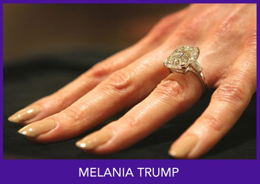MELANIA TRUMP - Value:  $480,000.00 (The two million in the papers is greatly exaggerated) Photos courtesy of: US Weekly Magazine   Description:  12 carat classic emerald cut in a platinum basket setting with channel set tapered baguettes flanking each side.