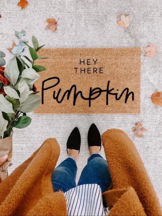 hey there pumpkin | fall decor | hello welcome mat | hand painted, custom doormat | cute doormat | outdoor doormat | Black Friday |