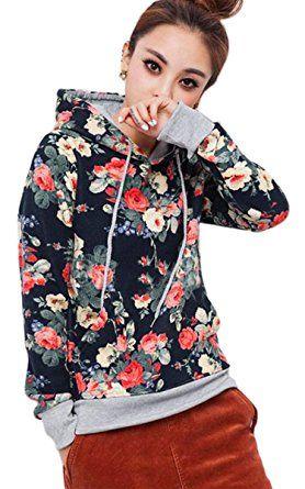 F9best Damen Casual Pullover Sweatshirt Hoodie Kapuzenpullover mit Aufdruck