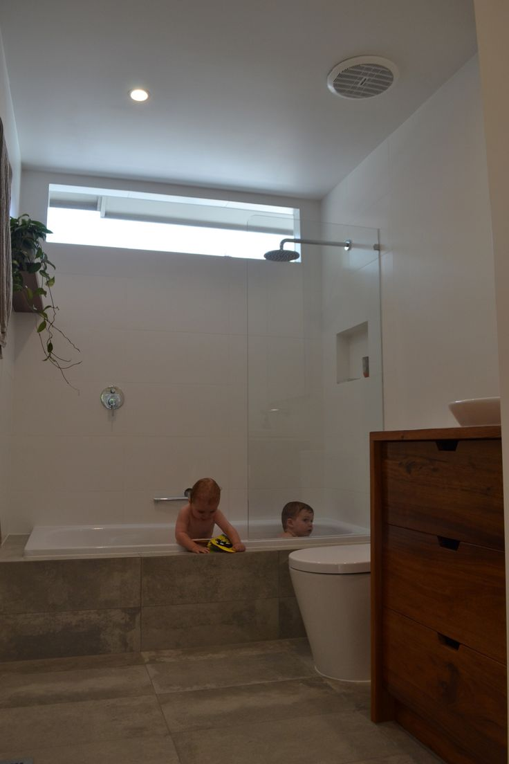 Enjoying the new bathroom