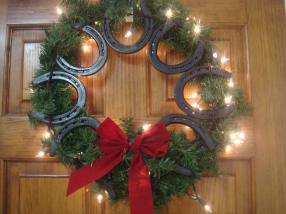 Horseshoe Wreath by ekdesignsent on Etsy, $60.00this just may be the one for christmas
