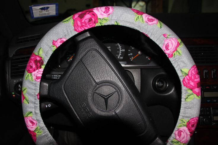 Steering Wheel Cover . Pink Flowers Wheel Cover. Gray and Pink Wheel Cover. Accessories. by Wheelering on Etsy