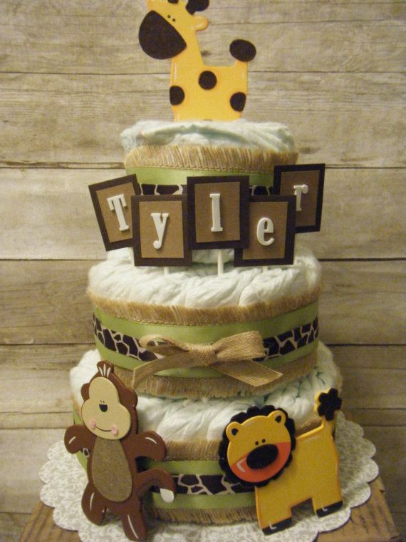Baby boy safari diaper cake  green and burlap by CassisBabyCakes