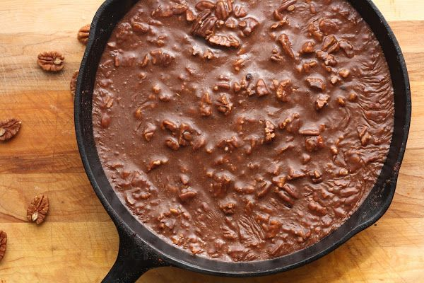 Gooey Chocolate Skillet Cake. Prepared and served in a Lodge Cast Iron Skillet. USA Made since 1896!