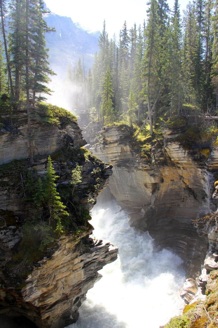 Athabasca Falls is a waterfall in Jasper National Park on the upper Athabasca River, approximately 30 kilometres south of the townsite of Jasper, Alberta, Canada, and just west of the Icefields Parkway