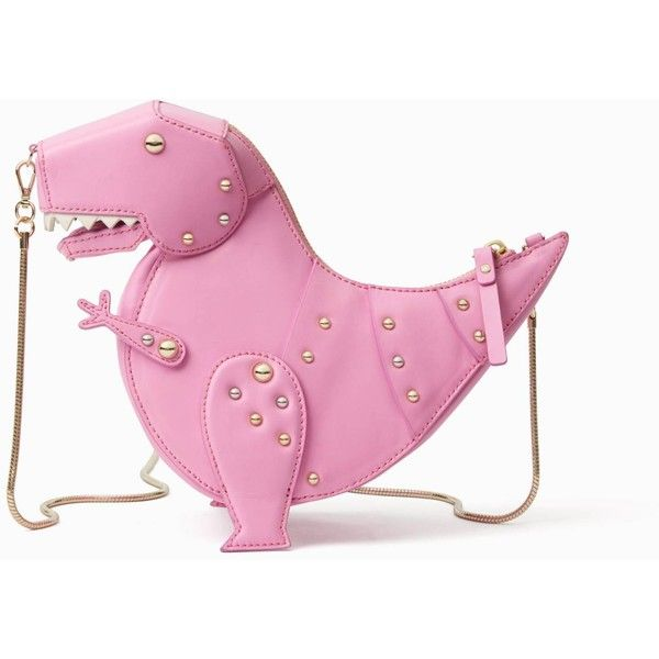 Kate Spade Whimsies T-Rex Crossbody ($378) ❤ liked on Polyvore featuring bags, handbags, shoulder bags, purse crossbody, pink purse, pink crossbody purse, crossbody shoulder bag and pink shoulder handbags