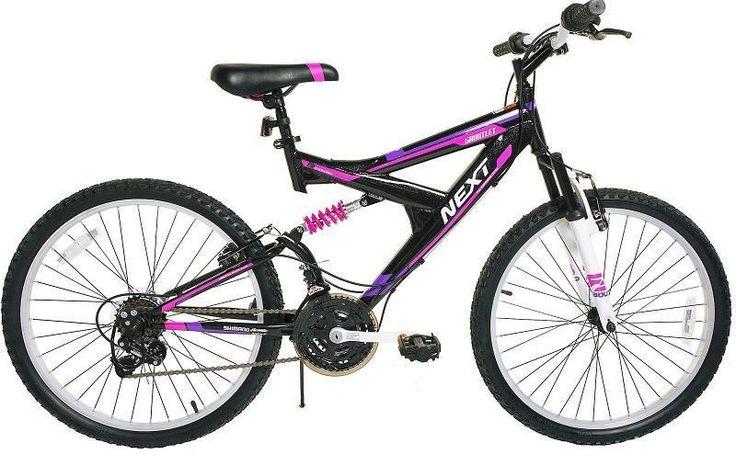 """24"""" Girls' Mountain Bike 18-Speeds Shimano Black / Pink Bicycle Dual Suspension #Next"""