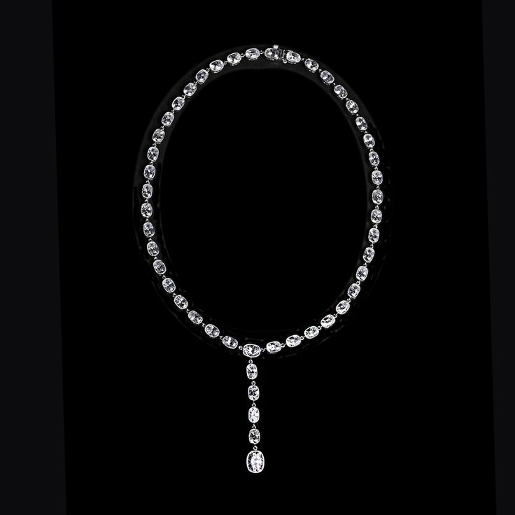 """This stunning 18"""" necklace features over 45 oval cut cubic zirconia stones set in sterling silver."""