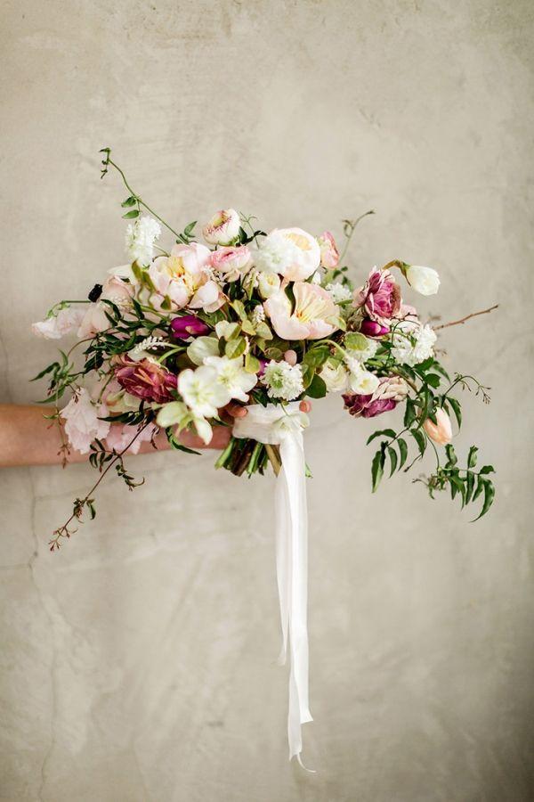 Enchanting Wedding Flowers in Peach and Plum