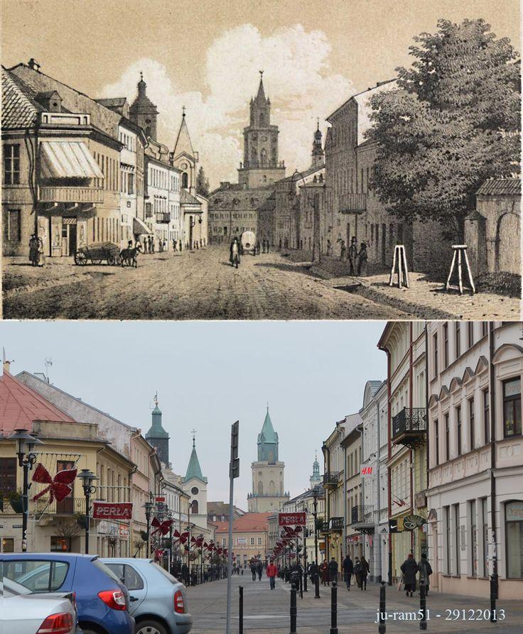 Krakowskie Przedmieście w XIXw i dzisiejszy deptak.