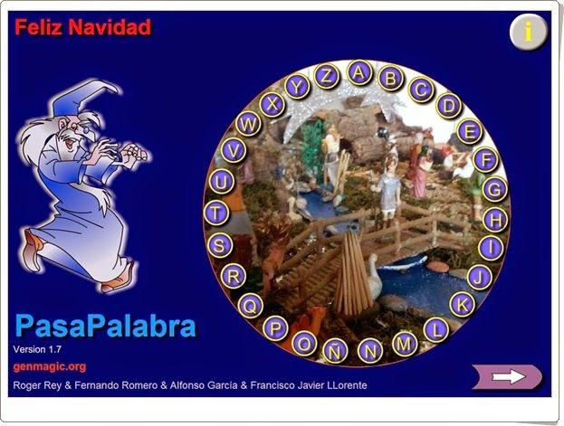 """El pasapalabra """"Feliz Navidad"""", de genmagic.org, comprueba el conocimiento básico de los niños sobre la Navidad. Adecuado para Educación Primaria por su sencillez."""