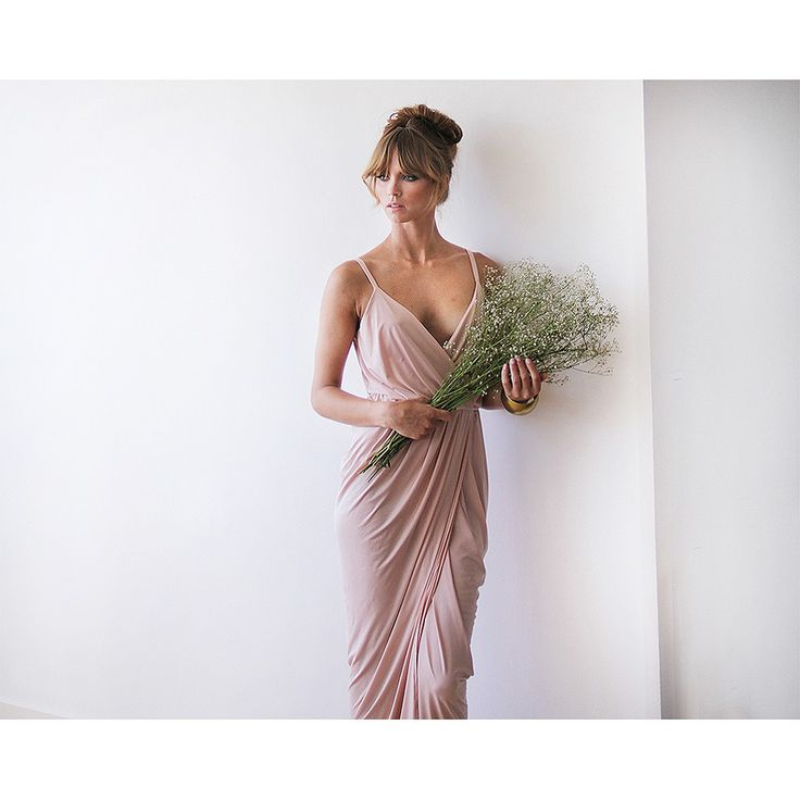 Wrap Dress ,Blush Pink Maxi Dress, Bridesmaid Dress, Formal Dress, Party Dress. Classy and Elegant. A Top Pin on Pinterest for Best Bridesmaid Dress. This wedding bridesmaid dress is perfect for a summer or fall wedding event. Beautiful Blushfashion dress by an Israeli designer.  Custom Orders for Bridesmaids or large groups available. Simply inquire at www.styleandpose.com