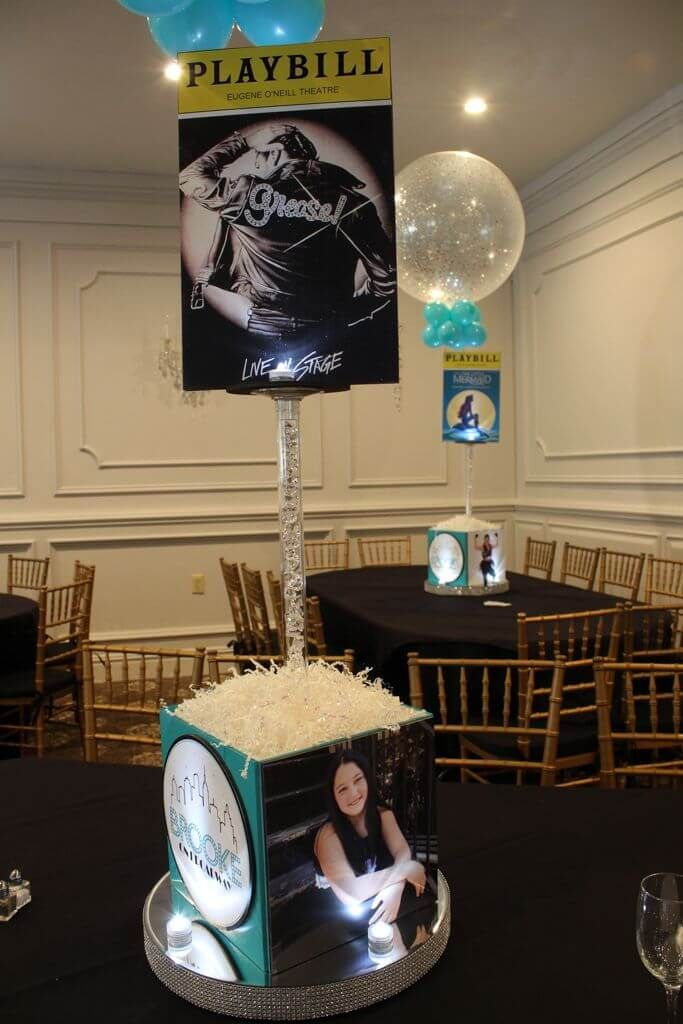 Broadway Themed Centerpiece with Cube Base & Blowup Playbill