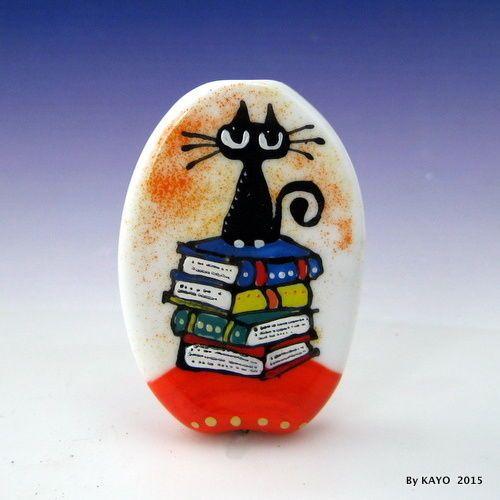 """EINSTEIN"" byKAYO a Handmade CLEVER CAT Lampwork Art Glass Focal Bead SRA #Lampwork"
