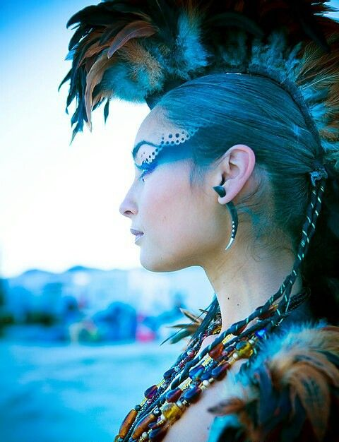 Post Apocalyptic Tribal ideas | Miyako Ru | necklace earring mohawk hair piece make-up feathers