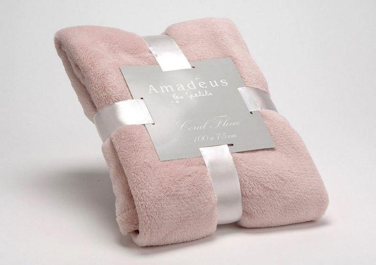 Plaid doudou vieux rose 75x100cm - Amadeus